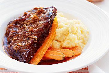 Braised skirt steak.  Brilliant dinner - thanks Peter