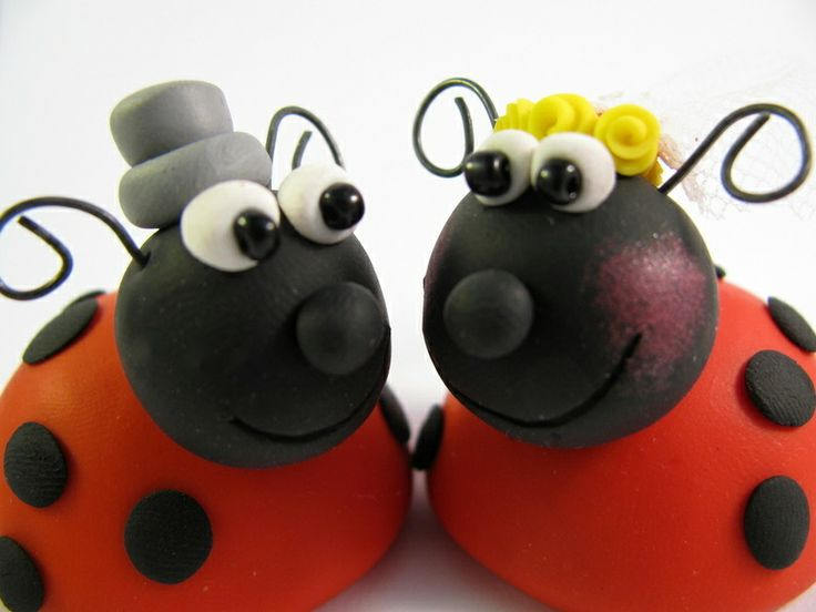 Adorable wedding or anniversary cake topper, featuring a groom beatle bug and a bride lady bug who are clearly in love :) The perfect keepsake from...