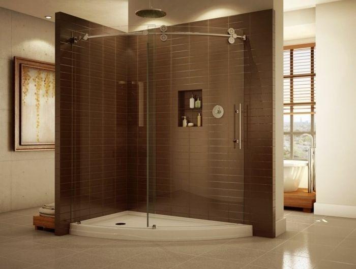 Glaserne Duschwand Im Modernen Badezimmer Duschtur Badezimmer Design Glaswand