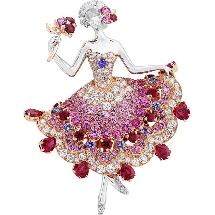 Van Cleef & Arpels 2016 'Iolanta Ballerina' Clip set with Diamonds and Rubies as well as graduated Pink and Mauve Sapphires | via The Jewellery Editor ♥•♥•♥