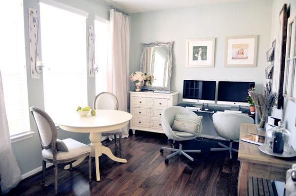 dining room into home office : I like the idea of still having a small bistro table in the room