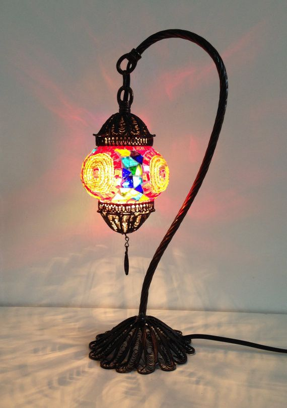 Colorful Turkish Boho mosaic lamp with hand crafted copper base