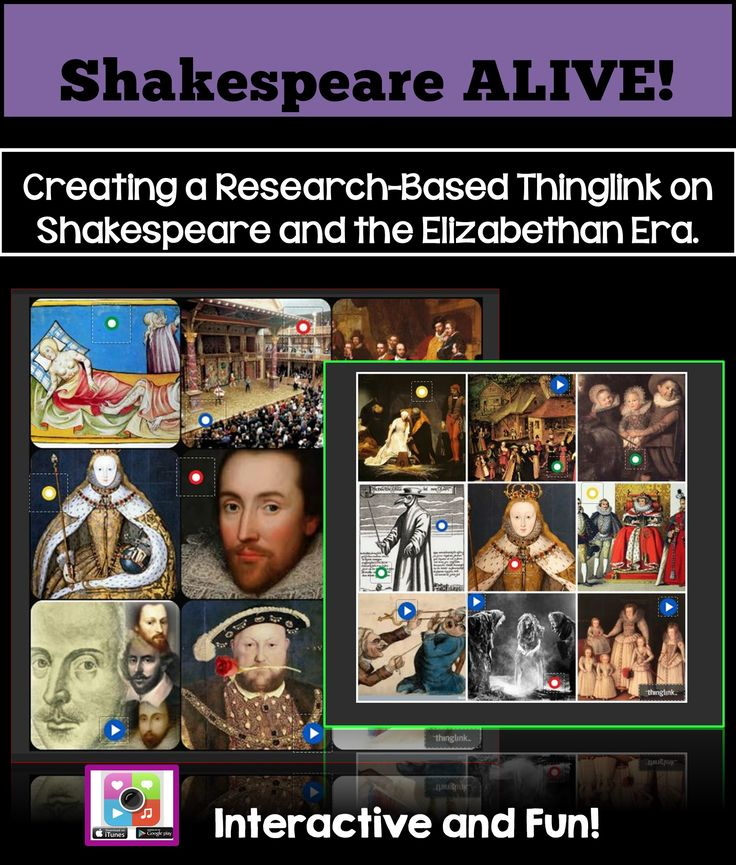 Students will love to showcase their researched knowledge of William Shakespeare and Elizabethan England by creating a dynamic, interactive image that includes tagged sound files, songs, images, videos, and hyperlinks to related websites. This project is designed to be used as an introduction to any of Shakespeare's plays or poems!