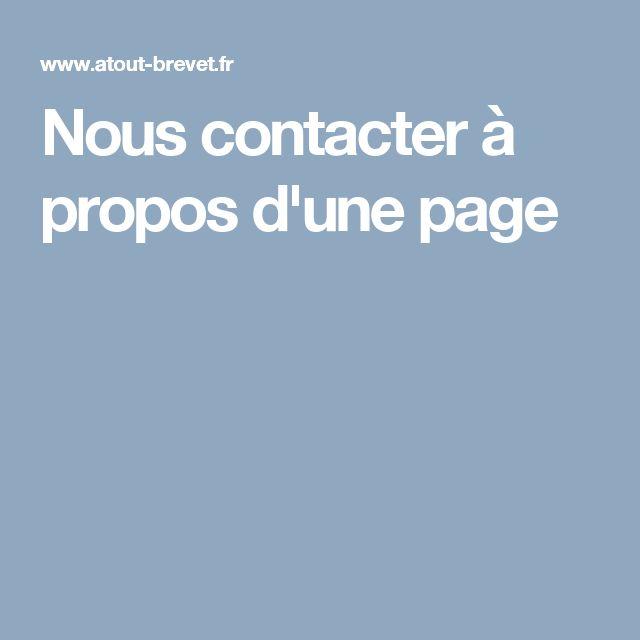 Nous contacter à propos d'une page