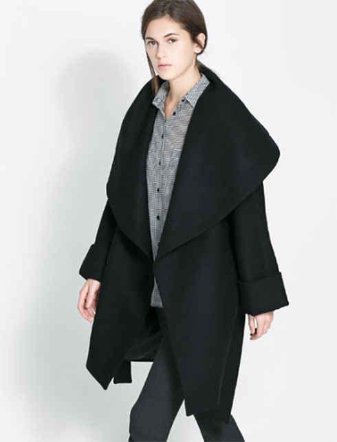 Woolen Wrap Around Coat, $159, Zara
