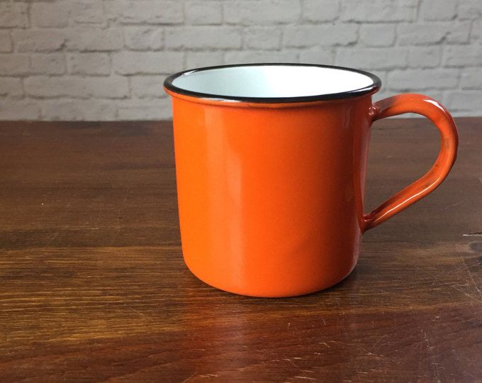 small orange enamel mug, bright orange mug, vibrant orange tin mug, Japan mug, pumpkin orange mug, Japan orange tea cup, OMC Japan tin cup