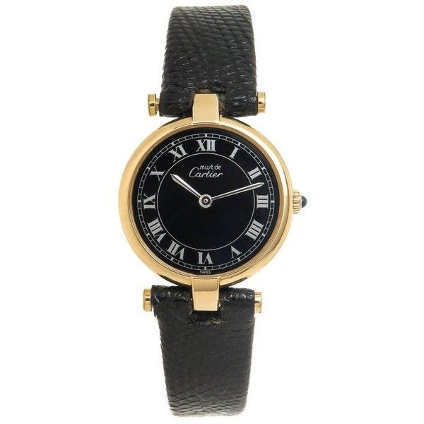 Preowned Cartier Ladies Vermeil Vendome Quartz Wristwatch (53.055 RUB) ❤ liked on Polyvore featuring jewelry, watches, multiple, wrist watches, cartier crown, quartz movement watches, green watches, crown jewelry and green jewellery