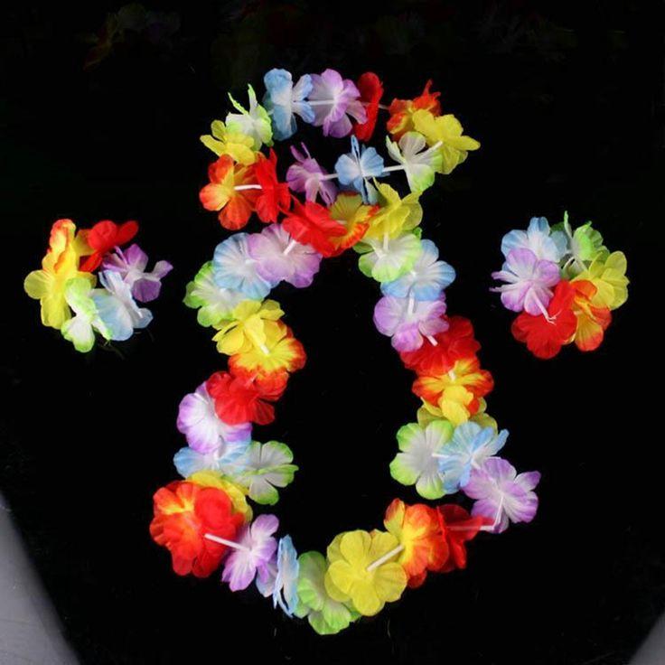 1  x  Wreaths Hawaiian Grass Skirt Flower Hula Lei Garland Fancy Dress Costume 6 Piece Set