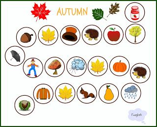 autumn, forest, game, board game, kids, young learners, vocabulary