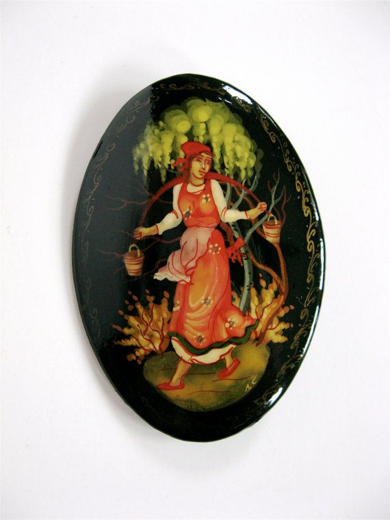 vintage russian lacquer brooch hand painted traditional folk art woman pin jewelry russia