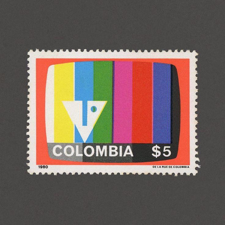Inauguration of Colour Television in Colombia. Colombia, 1980. Design: David Consuegra. #graphilately #mnh #graphicolombia