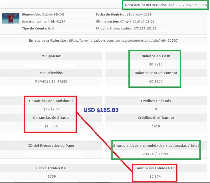 Hoy cumplí 2 meses con Fort Ad Pays, trabajando solo en mis ratos libres, y ya logre ingresos acumulados de $185.83 dólares, lo cual es más del 200% de lo que invertí inicialmente, lo cual me tiene muy contento porque esto se sigue incrementando cada 30 minutos.  Si quieres saber por que a este ritmo de crecimiento, en 4 o 5 meses más voy a estar percibiendo un ingreso superior a los $1,000 dólares extras mensuales, HAZ CLIC AQUI…