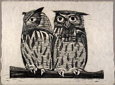 Two Owls by Elizabeth Olds /woodcut