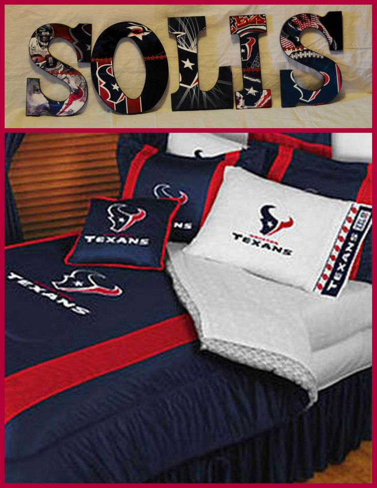 """Houston Texans Inspired Wooden Letters Personalize your child's room or any room 9"""" Wooden Letters with Drilled holes in the back for easy hanging. Can do any theme, college, team or bedding for boy or girl.  . I can even do your photo's for memories or a family one with your family photo's.. Can match any bedding theme. $9.50 per letter Email me at annhenderson@bellsouth.net"""