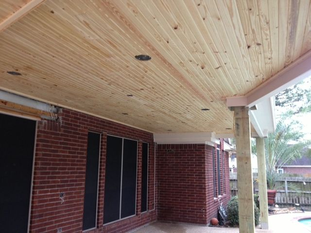 awesome wood covered ceiling for your patio! could be stained or painted. love