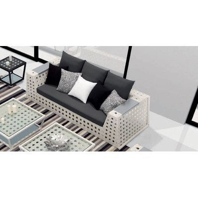 100 Essentials Palace Sofa with Cushions Finish: Java Antique, Fabric: Sunproof Dark Turquoise