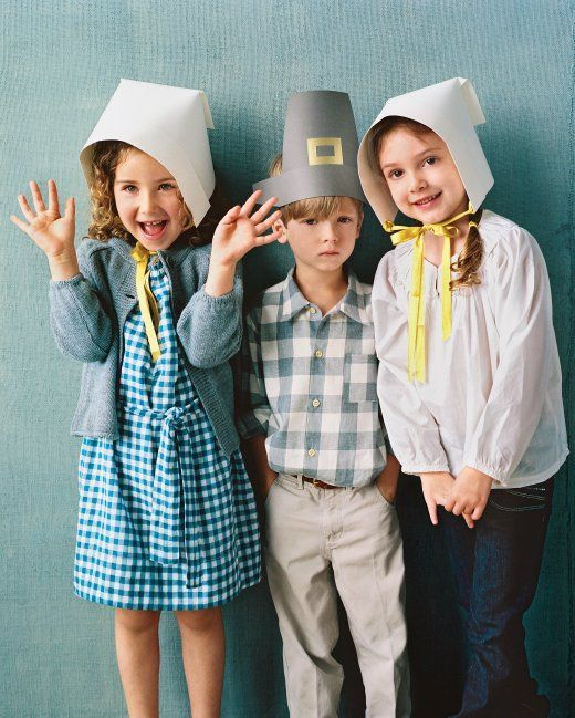 Templates and step by step of how to make pilgrim hat and bonnets for the kids.
