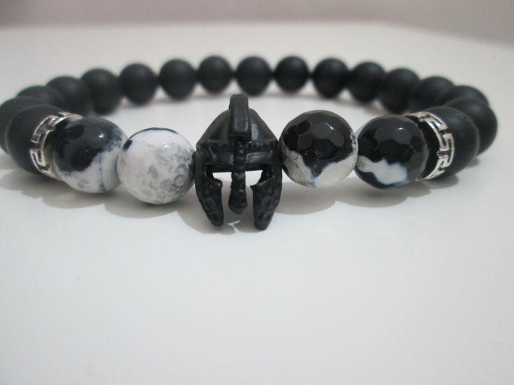 Pulsera Hombre de Agata blanco y negro y Onix,casco plateado negro espartano,Gladiador de Lenajoyas en Etsy