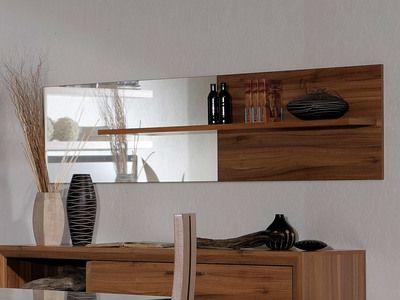 Miroir mural rectangulaire en bois imitation noyer avec tablette 199x51cm SAGONE