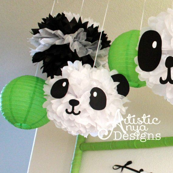 This listing is for a set of 3 DIY Panda Tissue Pom Poms **Assembly Required** (Black and White Pom Poms and Green Paper Lanterns in the pictures are NOT included) {Panda PandaMonium Collection} by Artistic Anya Designs & Events ********** DETAILS ********** The set will include 3 prefolded white pom-poms held together with floral wire and ribbon attached to hang. Set also include 3 panda faces and ears (made of black cardstock paper) to be attached by customer. Each pom pom will be the…