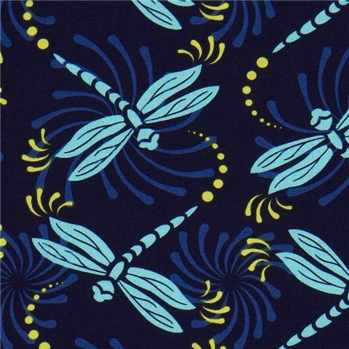blue Michael Miller fabric with turquoise dragonflies  pretty dark blue designer fabric with turquoise dragonflies from the USA