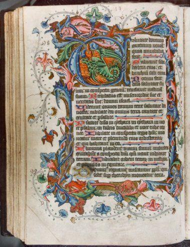 Manuscrito iluminado profusamente. En este caso, la caligrafía prácticamente pasa a un segundo plano, bellísimo!
