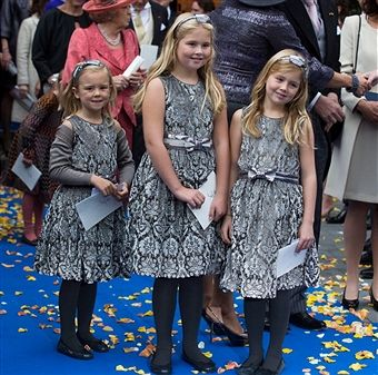 Princess Ariane, Princess Amalia and Princess Alexia of The Netherlands attend the wedding of Prince Jaime de Bourbon Parme and Viktoria Cservenyak at The Church Of Our Lady At Ascension on October 5, 2013 in Apeldoorn, Netherlands.