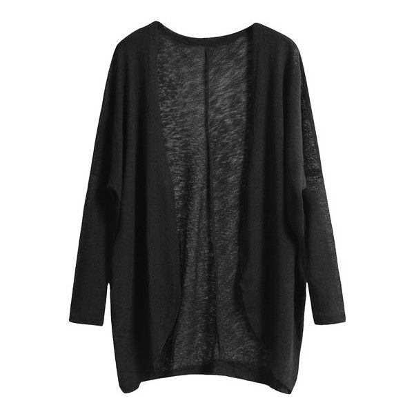 SheIn(sheinside) Black Long Sleeve Loose Knit Cardigan (€11) ❤ liked on Polyvore featuring tops, cardigans, sweaters, jackets, outerwear, black, loose fitting tops, loose fit tops, loose knit top and black long sleeve cardigan