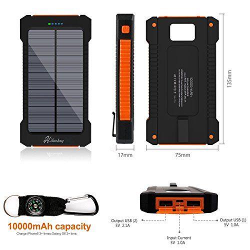 Cargador Solar 10000mAh, Hiluckey Batería Externa Solar Banco de energía Power Bank Doble Puerto USB con LED, Solar Charger Portátil Compatible iphone6 Android-teléfonos móviles,Smartphone(a prueba de golpes a prueba de polvo a prueba de agua) - http://cargadorespara.com/comprar/solares/cargador-solar-10000mah-hiluckey-bateria-externa-solar-banco-de-energia-power-bank-doble-puerto-usb-con-led-solar-charger-portatil-compatible-iphone6-android-telefonos-movilessmartpho