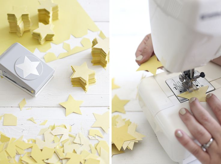 how to make a paper star garland via A Beautiful Mess