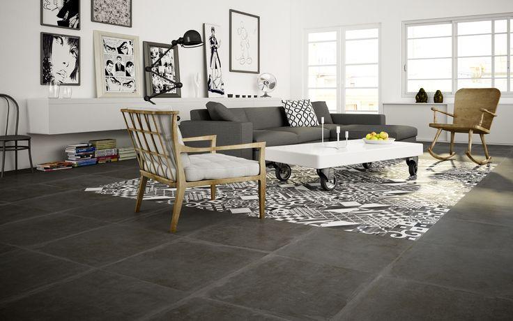 Hardsteen look tegels 60x60 verouderd met 20x20 decortegels in het midden (55)  Tegelhuys
