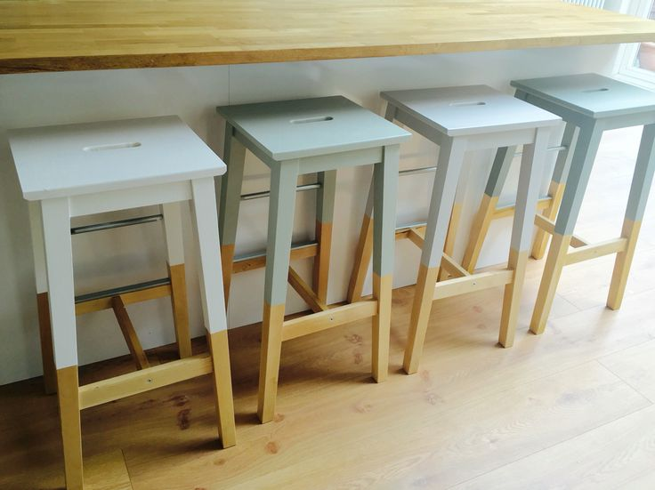 Painted IKEA breakfast stools in Farrow & Ball All White, Mizzle, Cornforth White and Pigeon.