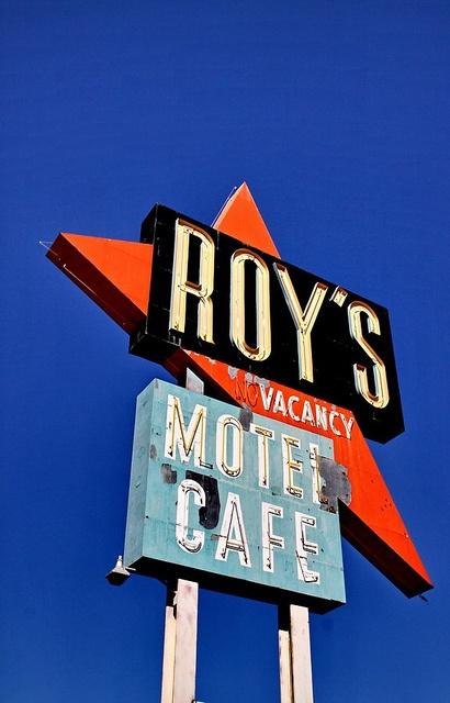 Roy's Motel neon sign