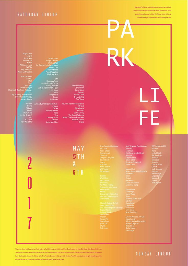 Poster designs for Parklife Festival