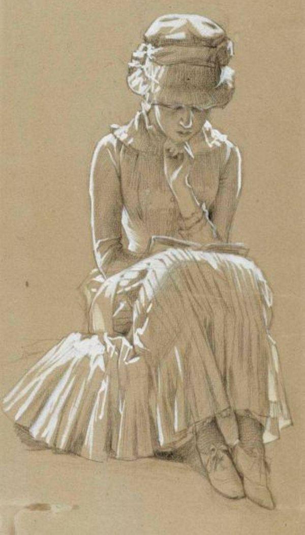 A Girl Reading - Albert Edelfelt Finnish painter 1854-1905 Drawing