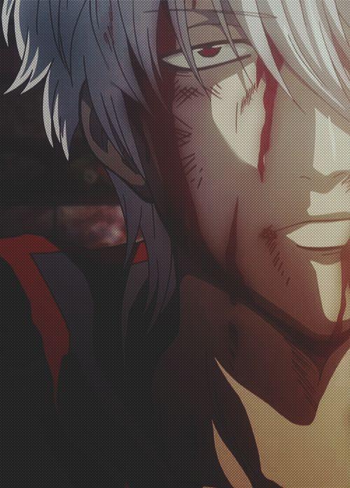 Gintoki about to enter the demon mode.
