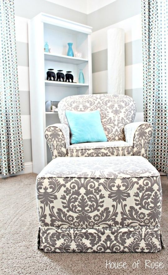 In LOVE!!: Colors Combos, Nurseries Colors, Dreams Houses, Stripes Wall, Chairs, Tiffany Blue, Colors Schemes, Baby Rooms, Ottomans