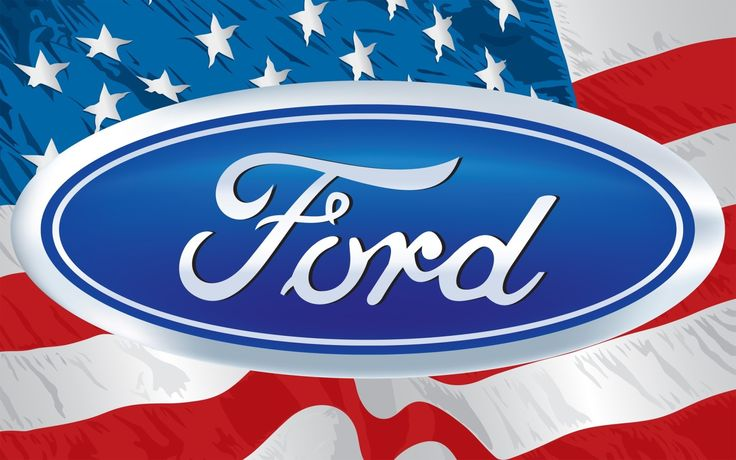 Ford logo on the background of the USA flag Desktop wallpapers 1920x1200