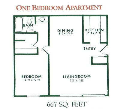 1 Bedroom Apartment Floor Plan For Rent At Willow Pond Apartments In  Penfield, NY
