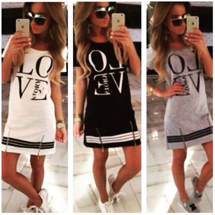 Sommer Damen Brief Zipper Shirtkleid Partykleid lange Bluse Shirt Tops Minikleid