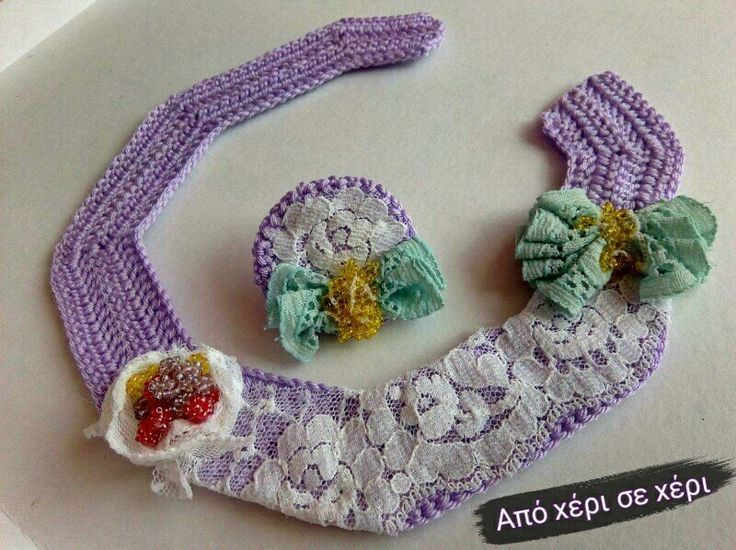 #crochet #crochetjewelry #collar #necklace with #lace and #beads #πλεκτό #κοσμημα #γιακάς #κολιέ με #δαντέλα και #χάντρες