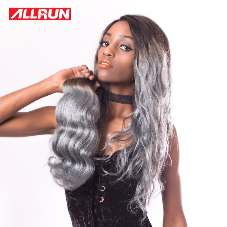"ALLRUN Body Wave Ombre Brazilian Hair Weave Bundles 100% T1B Grey 14""-20"" Non Remy Human Hair Bundles 1PC No Tangle"