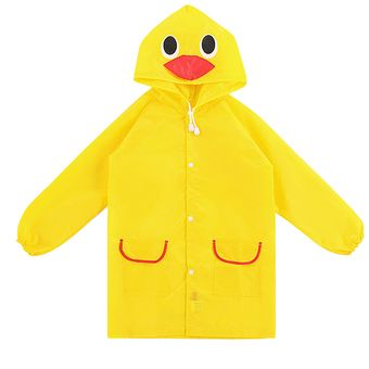Children Kids Cartoon Animal Pattern Rain Coat Waterproof Raincoat Yellow Duck