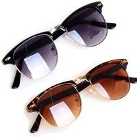 Geek | Retro Half Frame Clubmaster Style Sunglasses Classic Frame Mirrored Sunglasses