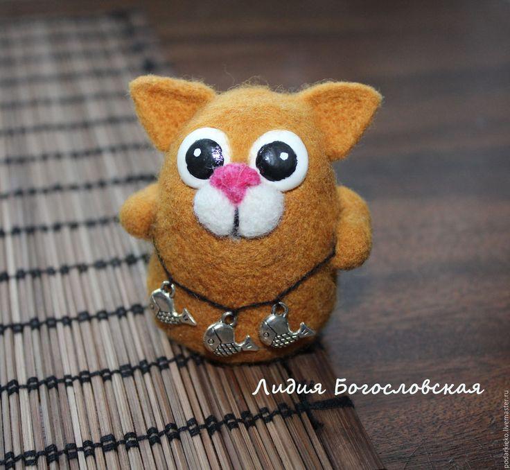 """Купить Игрушка из шерсти кот """"Ловец"""" - рыжий, игрушка из шерсти кот, игрушка валяная кот"""