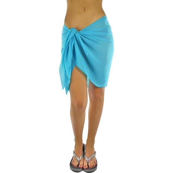 Turquoise Blue Womens Short Sarong Wrap Cover Up (£12) ❤ liked on Polyvore featuring swimwear, cover-ups, sarong wraps, turquoise, sheer swimsuit cover ups, swimsuit cover up, sheer beach cover ups, beach wrap sarong and beach cover ups