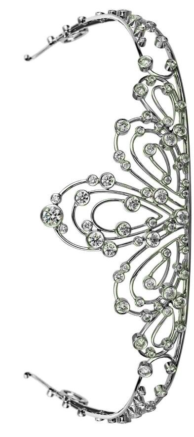 This tiara is called the Hestia tiara and is made with colorless diamonds, set in 14k gold