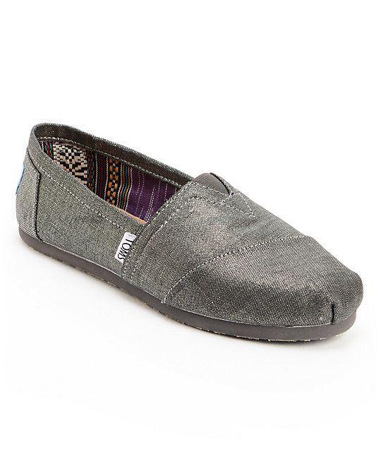 Toms Classics Black Metallic Linen Womens Slip On Shoes Size 9