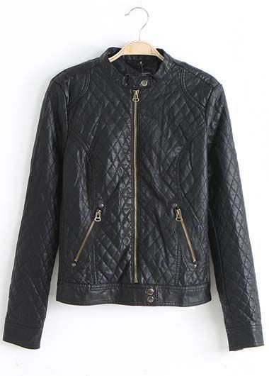 wholesale European Style Zip Fly Design Artificial Leather Jackets