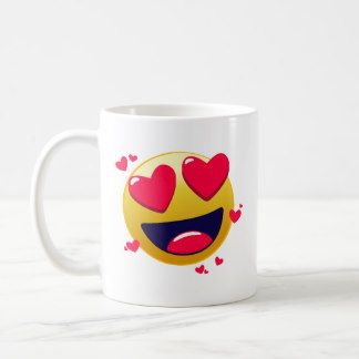 Red Love Heart Emoji Happy Smile Cute Romantic Coffee Mug Emoji